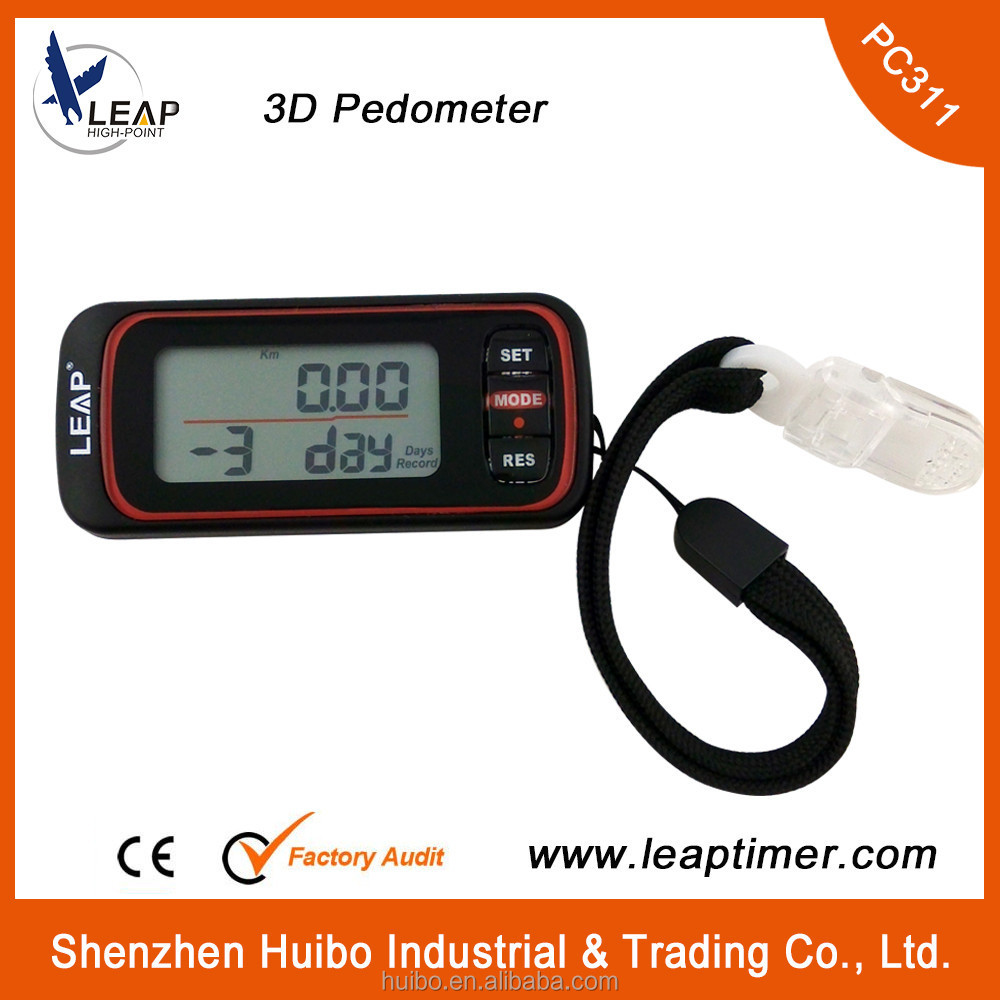 Running dedicated 3D pedometer step counter and calorie recorder