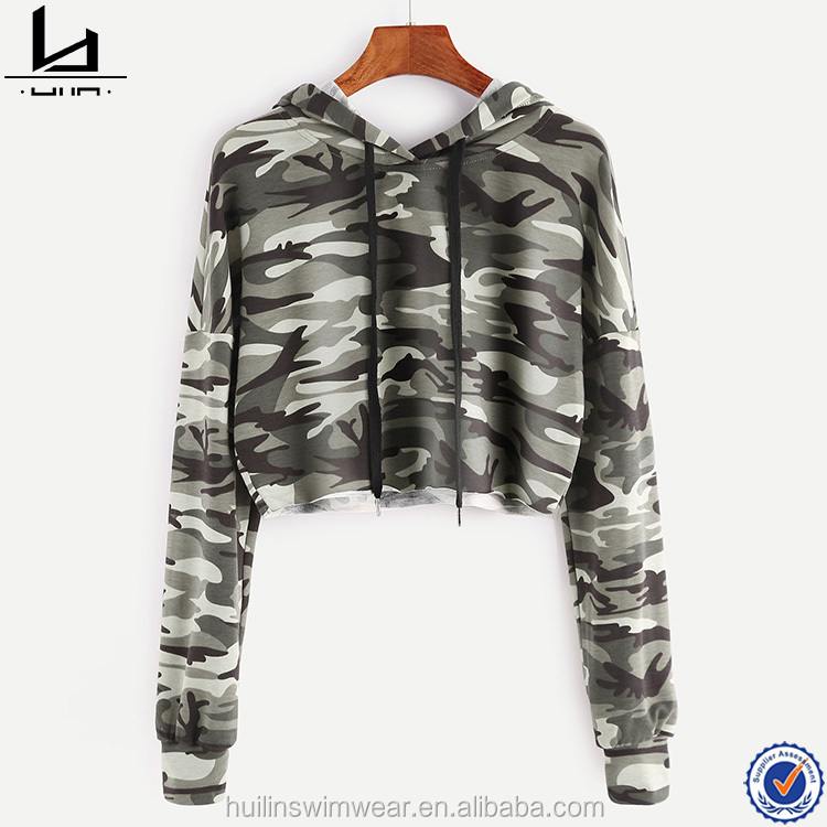 hot selling long sleeve pullover green camo printing hoodie for women