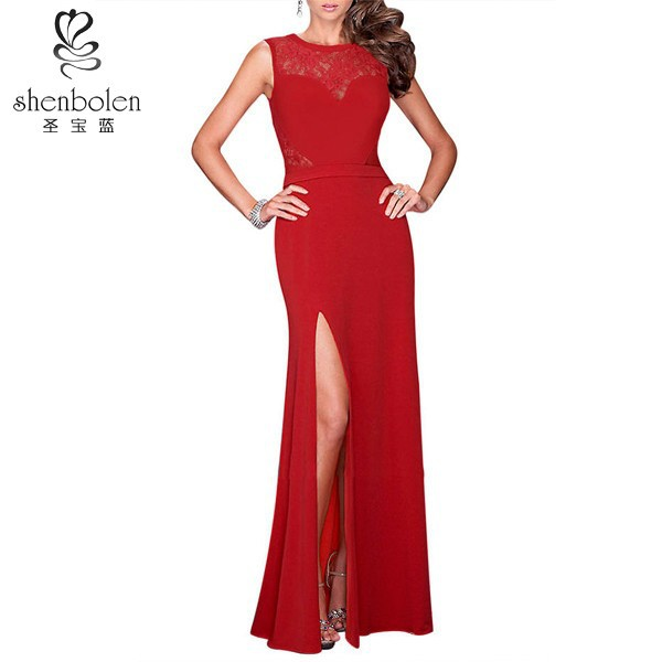 Wholesale custom made red and black pure color long celebrity evening dress 2015 for ladies with lace