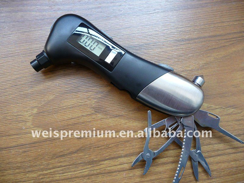 Auto emergency tool with tire gauge