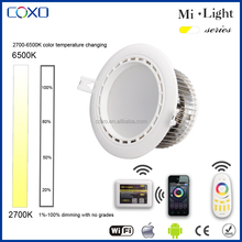 2016 New product China supplier 2.4G adjustable 12w led downlight/led lighting control by wifi remote smart phone