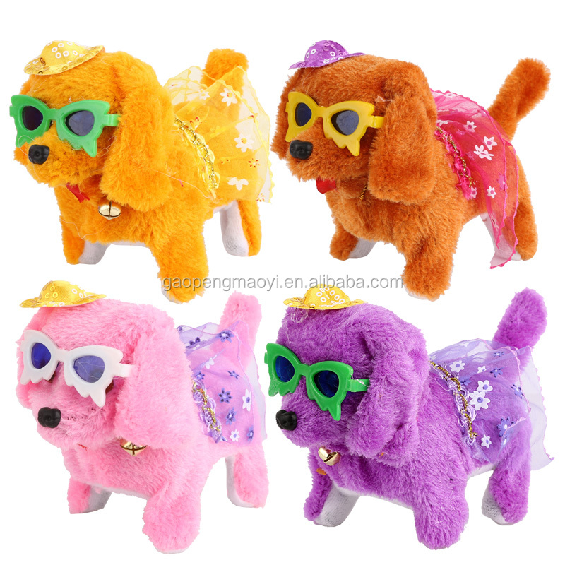 Hot Sell Kids' Toy Beautiful Walking Electric Skip Plush colourful Dog