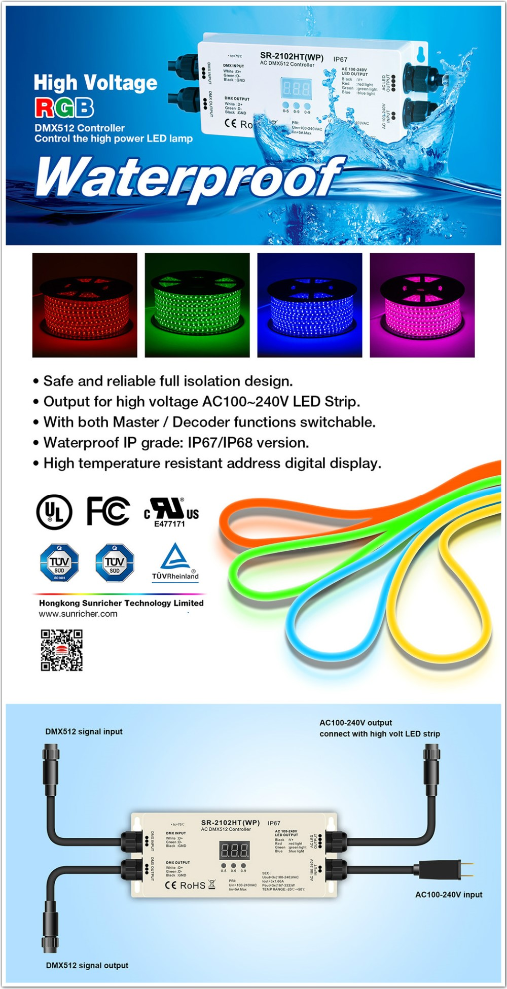 Addressable Ac Dmx Master Rgb Led Strip Controller Sr 2102htwp Strips Wiring Diagram As And Slave Optional See The Wire