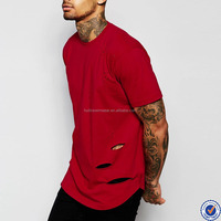 short sleeve wholesale blank t shirts for men plain red curved hem distressed t shirt
