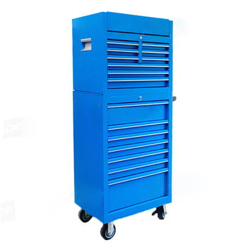 27 Inches 16drawers cheap portable Blue Metal shelves wheeled garage tool storage boxes cabinet