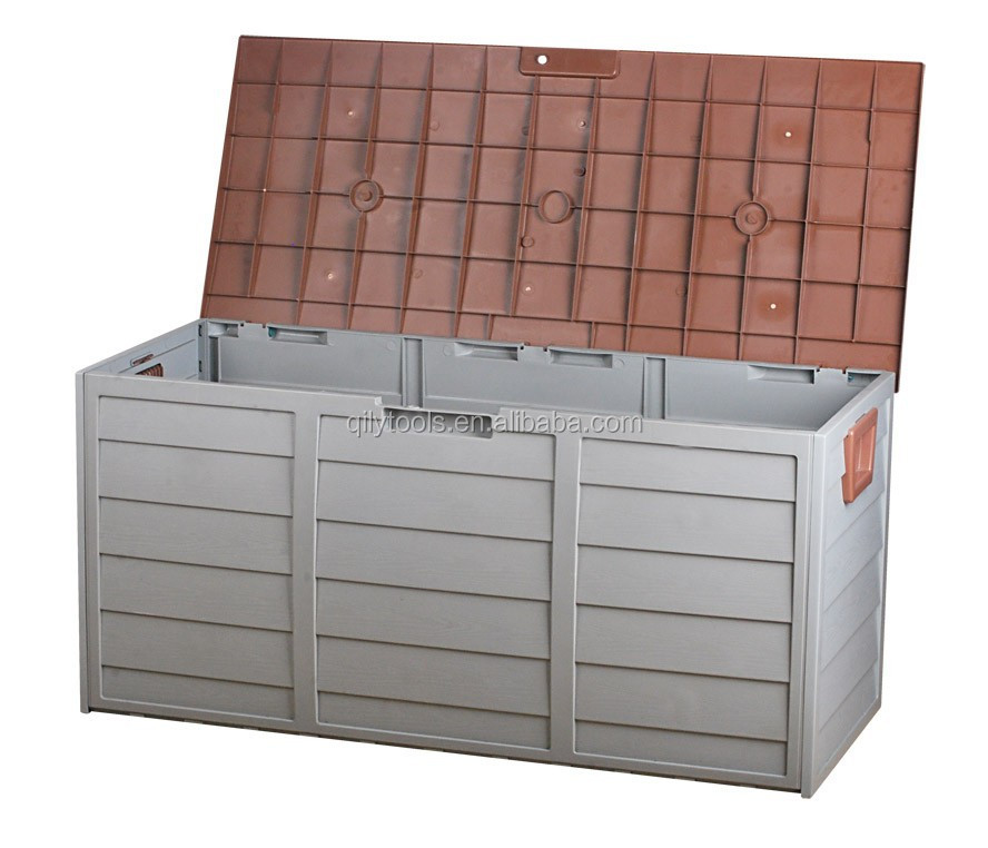 New Outdoor Storage Box 290L Plastic Container Weatherproof Brown