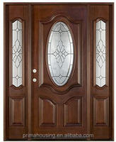 exterior wooden main door with frosted glass design