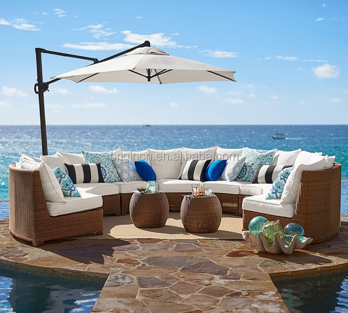 Sector Shape Patio Wicker Semi Circle Sectional Broyhill