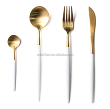 Dinnerware 18/8 stainless steel cutlery set gold flatware with white handle