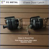 304 Stainless Steel Mirror Glass To Round Post Door Latch Types With Key
