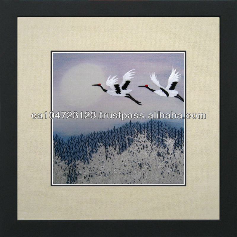 31093-Two Chinese Ruby Cranes Flying--Susho, King Silk Art 100% Handmade Silk Embroidery