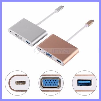 3 In 1 Multi Port Male USB3.1 Type C To VGA Adapter Cable For Macbook Laptop