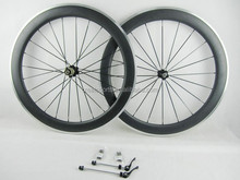 60mm aluminum bicycle wheelset 3k glossy finish racing bike carbon wheels 23mm width