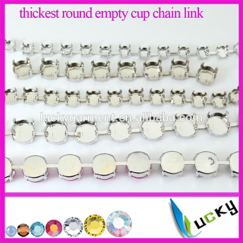6mm 8mm 10mm 12mm thickest round empty cup chain link rivolis silver plated