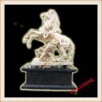 Garden marble man with horse statue sculpture