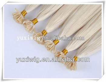 Blonde virgin hair Russian human u tip hair extensions