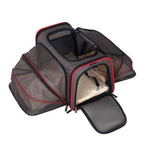 Foldable Washable ONE or TWO SIDE Expansion Car Airline Approved Expandable Pet Carrier for Cats, Dogs, Kittens,Puppies bag
