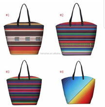 In stock New Arrival monogram Cotton Canvas Rainbow Stripe tote bag