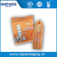 cheery nut food packaging flat bottom pouch , quad seal upmarket plastic bag