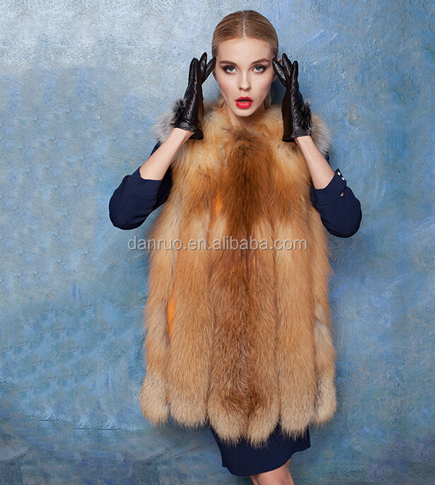 8F New Fashion Canada Women Red Fox Fur Vest