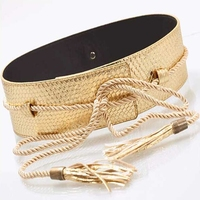 New vintage accessorie europe unique design luxury Woman Brand Snake Rope Tie Leather Belts for Women No Button Tassel Belt