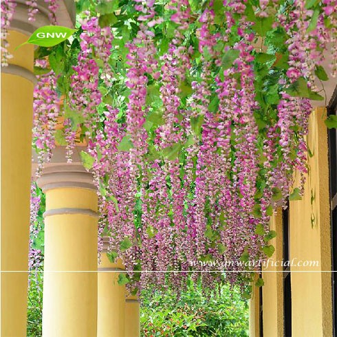 GNW FLV07 Artificial Plastic Wisteria Flower Vine Wedding Flower Garland