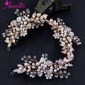 Popular Nice Wedding Rose Gold Bridal Headpieces Vine Floral Beaded Prom Wedding Dress Accessories Hair Jewellery