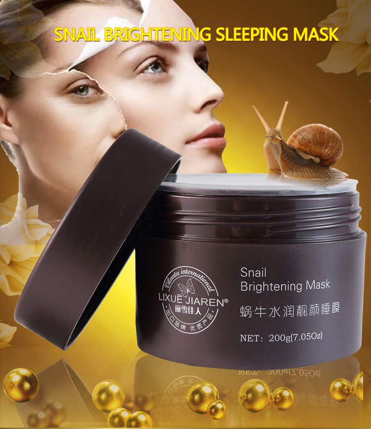 <strong>100</strong>% pure snail essence whitening&brightening clay face mask for sleeping