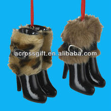 Set of 2 Resin Boots with Fur Ornaments