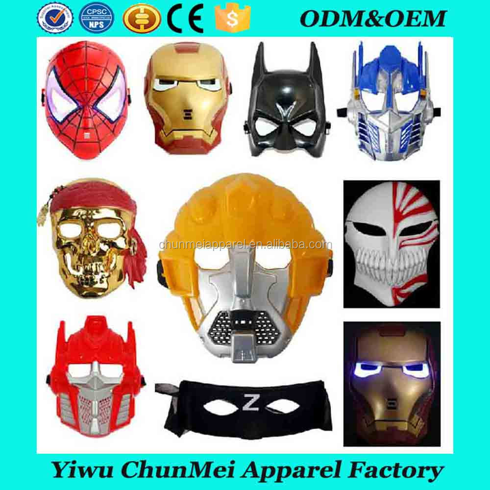 Wholesale Plastic Carnival Party masks Hero spiderman batman Led Halloween masks