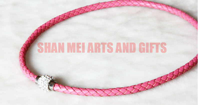 handmade braided popular design leather necklace with magnetic hook