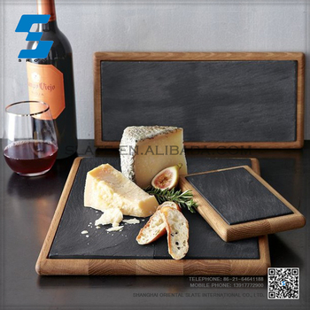 unique design black slate plate slate cheese board slate tray, wooden serving tray