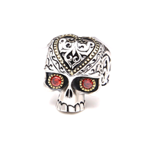In stock Men's Retro Skull Ring Biker Jewelry 925 Sterling <strong>Silver</strong> Two -Tone Ruby Eyes Skull Rings (AS-050)