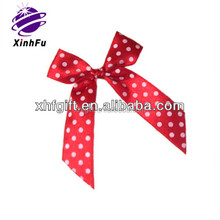 white dotted grosgrain pre-tied ribbon bows