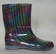 Customized Plaid Transparent PVC Rain Boots For Children