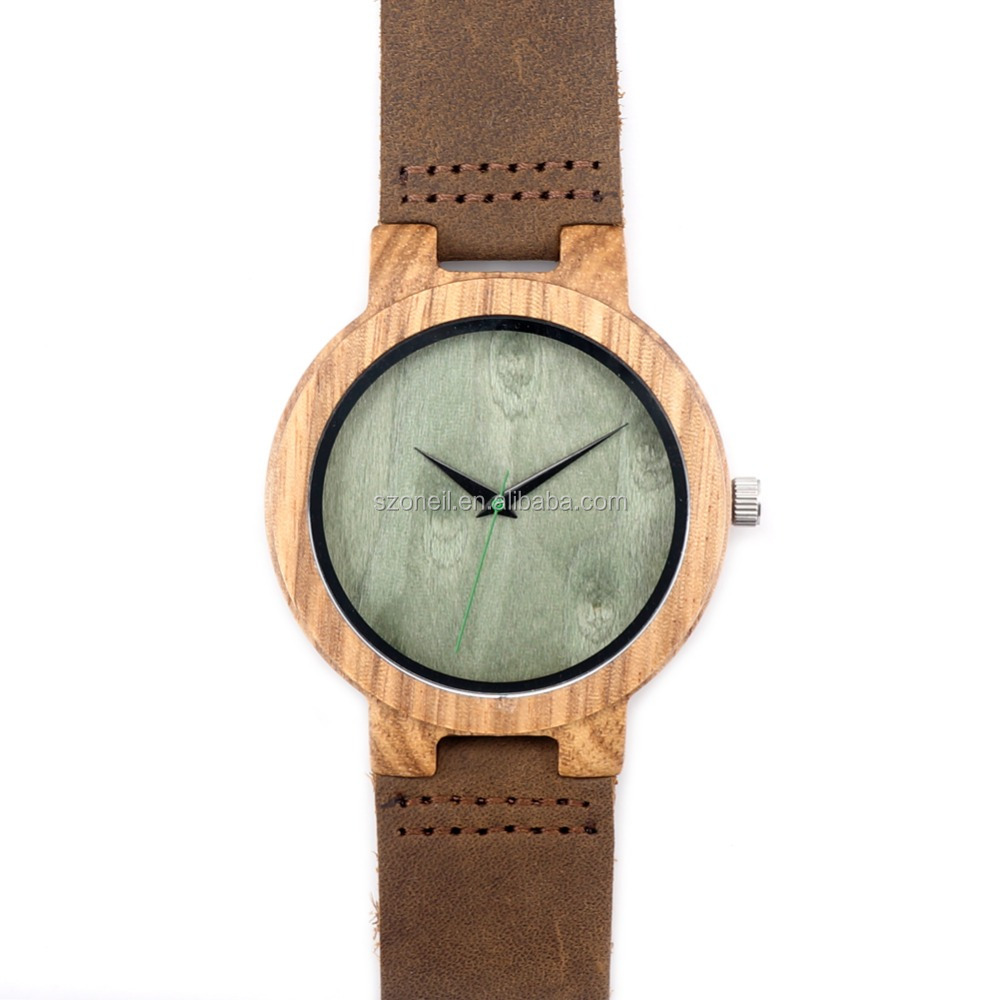 Leather watch straps custom watch face from wooden watch manufacturer