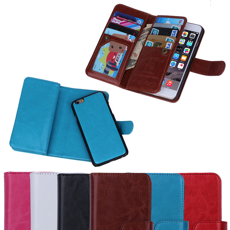 2016 New products for iPhone SE case,for iphone se pu leather case with nine card slots holder detachable inside cover