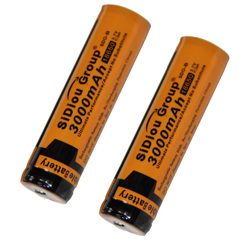Sidiou Group 18650 Li Ion Battery 3.7V 3000mAh Rechargeable Battery (A Set of 2 Pieces)