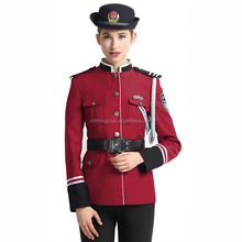 Bordeaux red marching band uniform, security uniform with high quality