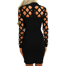 monroo Sexy Hollow Out Bandage Dress 2017 Explosion Women Long Sleeve Hollow Out Dress Sexy Nightclub Vestidos Plus Size