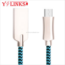Zinc Heads with USB cable braided Color Mixed usb data Micro Nylon cable Round Cord