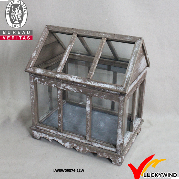 Vintage garden shelving wooden plexiglass small greenhouse for Inexpensive greenhouse shelving wood