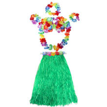 40cm Hawaii Tropical Hula Grass Dance Skirt Garland Hawaiian Party Decorations Supplies Dress