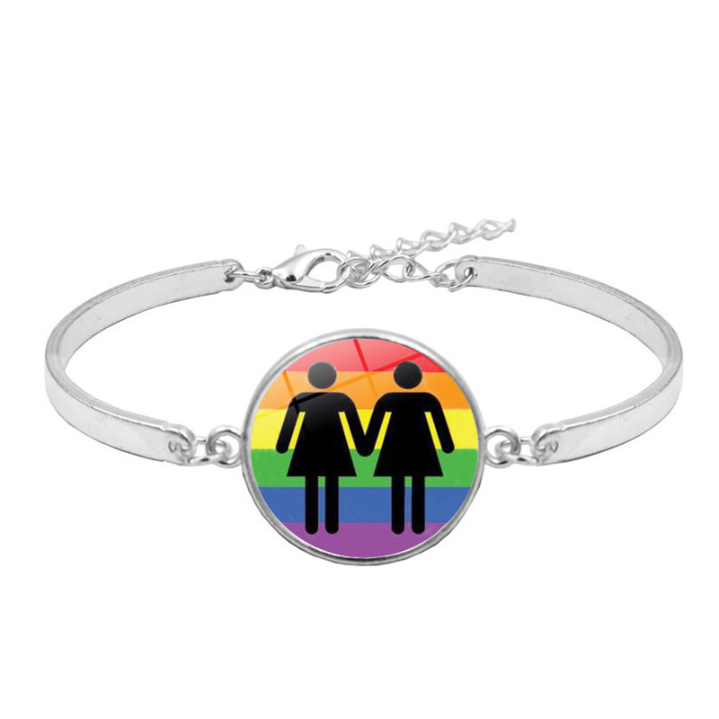 Personalized gay pride jewelry lgbt rainbow bangle bracelet