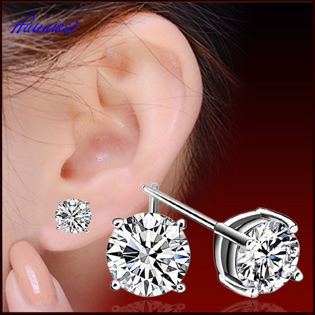 Unisex earrings fashion jewelry four claw 925 sterling silver earring