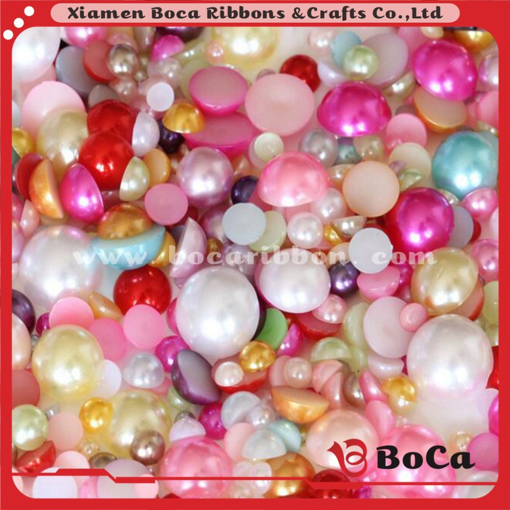 many size 2017 hot sale high quality wholesale Round Flatback Pearls,plastic pearl beads without hole for decoration