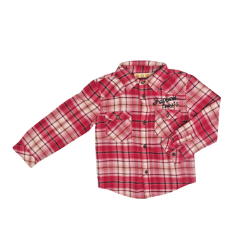 Wholesale Little Boys Long Sleeve Button Down Plaid Flannel Shirt in Stock