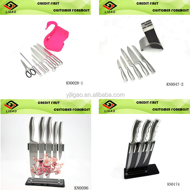 Hollow handle stainless steel knife set with knife block set for chinese cleaver knife