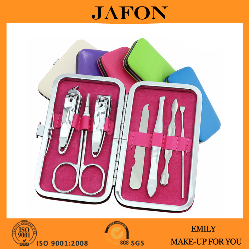 Carbon steel customized 7 pieces pocket manicure pedicure tool set