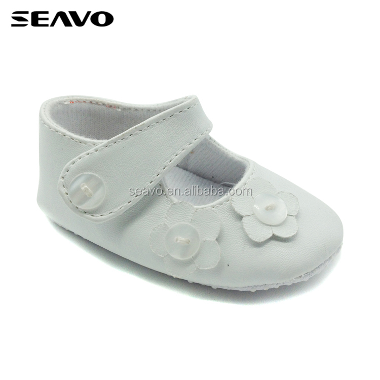 SEAVO beautiful plain white hand made flower & rhinestones fancy baby girls shoes